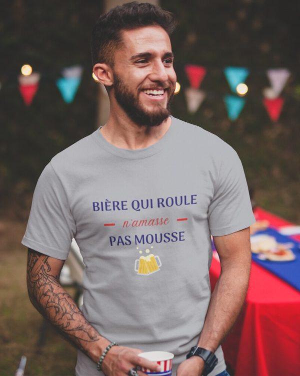 T-shirt Bière qui roule n'amasse pas mousse