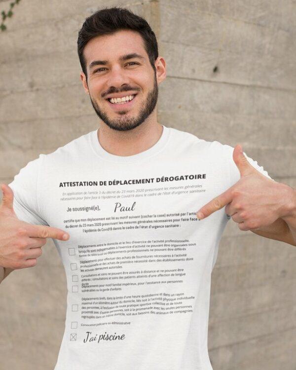 T-shirt Attestation de déplacement dérogatoire [À personnaliser]